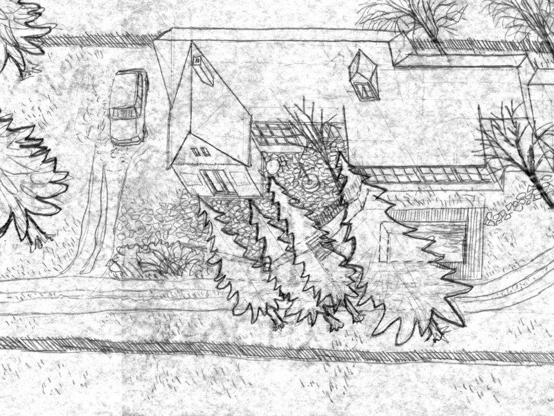 První náčrty dostavby a přestavby domu v magické zahradě v Úboči