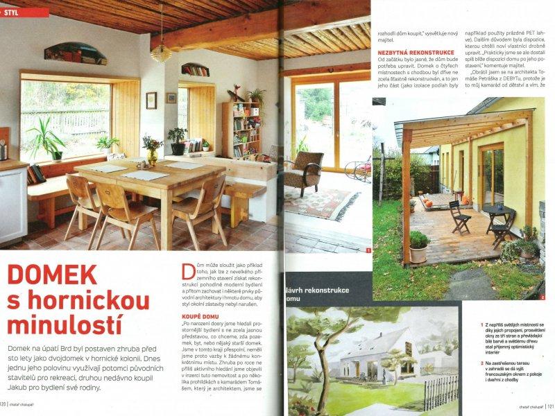 Publikace přestavby hornického domku v časopise Chatař a chalupář