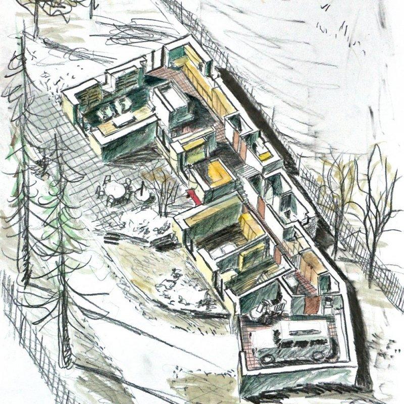 Přístavba domku v dlouhé zahradě