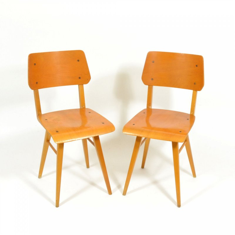 Pair of all-wood chairs