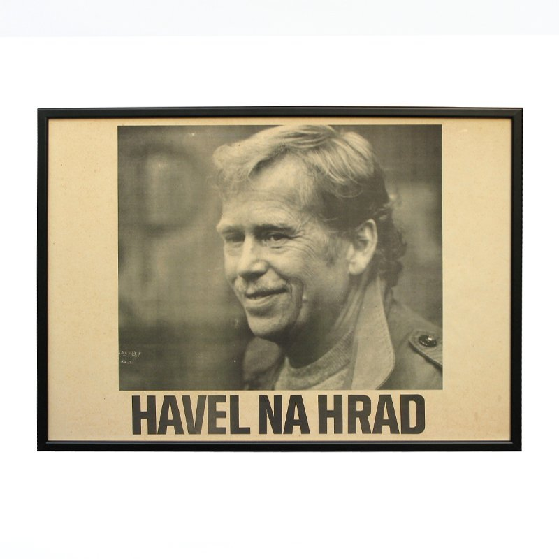 Black and white poster of Havel