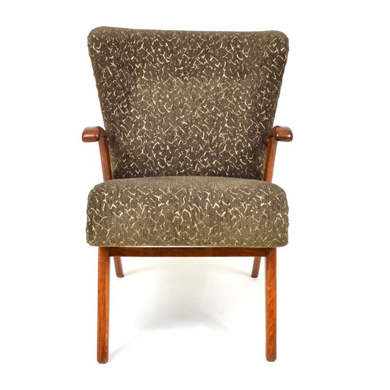 Brown wing armchair