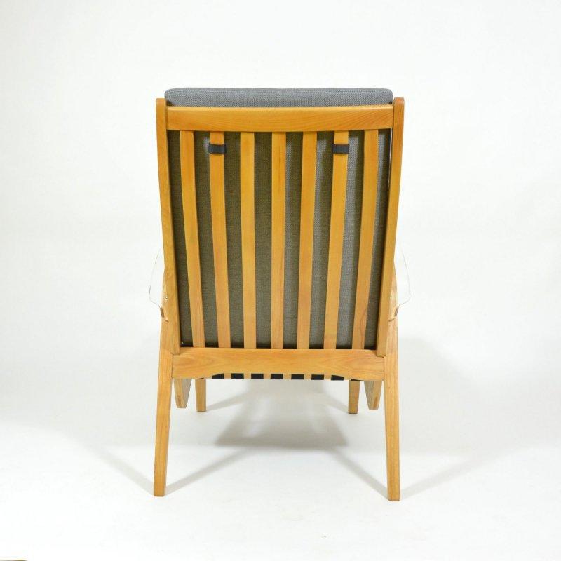 Unique retro armchair with plexiglass armrests