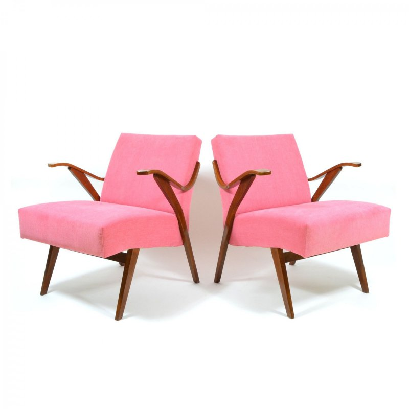Set of vintage pink armchairs