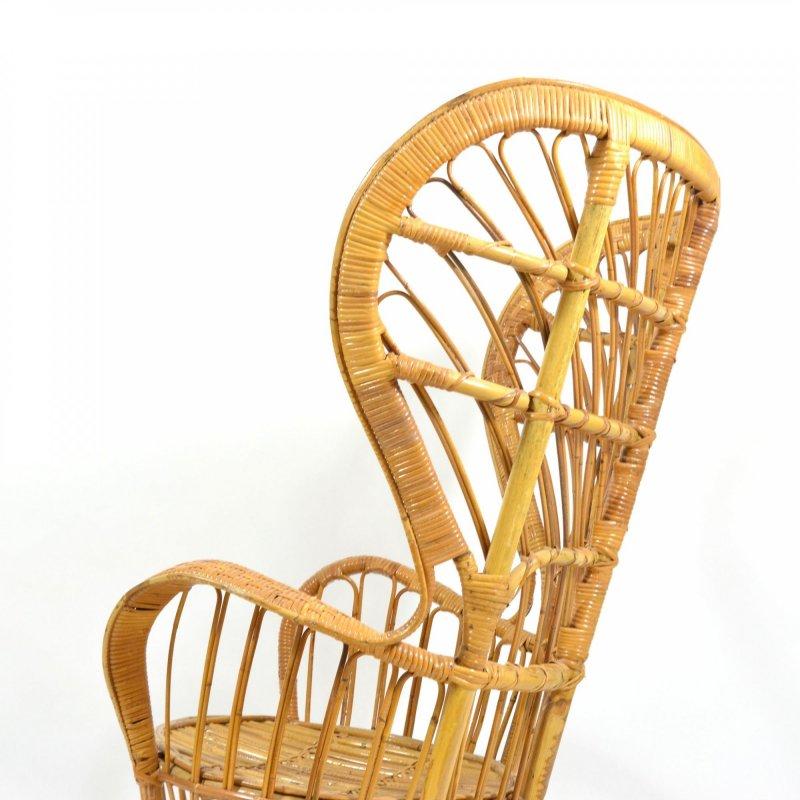 Rattan wingback armchair