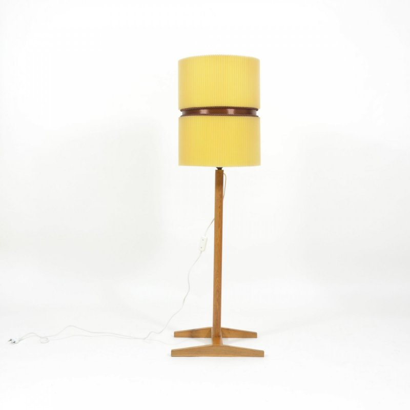Vintage floor lamp with oak base