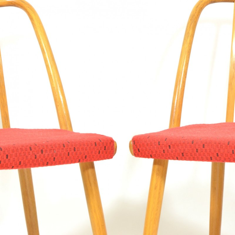 Set Of Four Beech Dining Chairs By Antonín Šuman