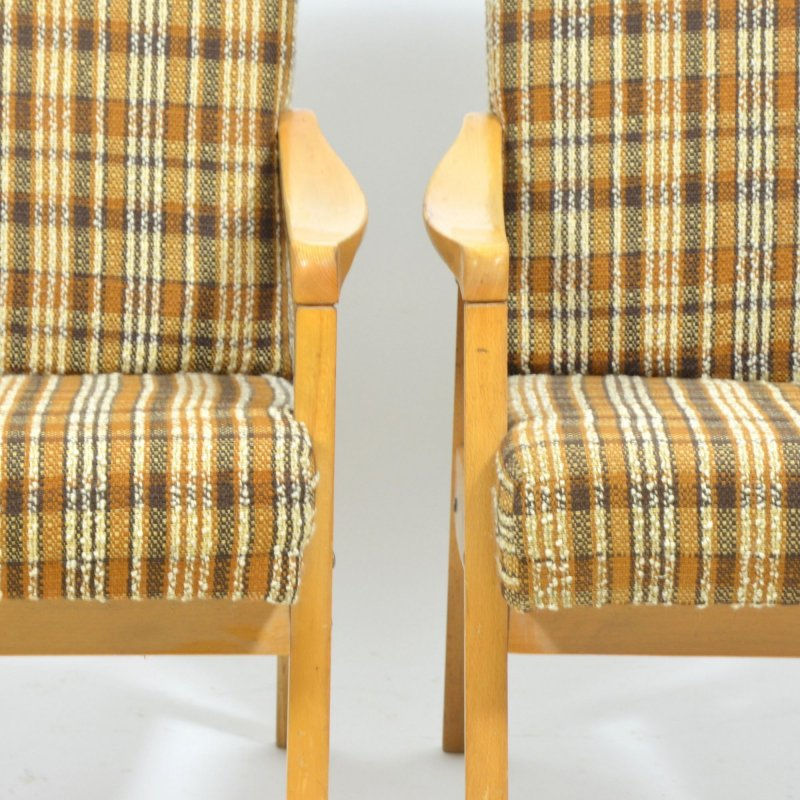 Set of two simple checked armchairs