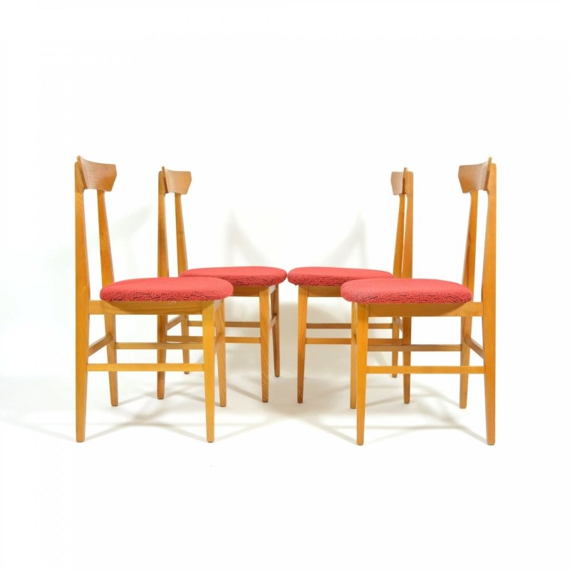 Set Of Four Soft Wood Dining Chairs