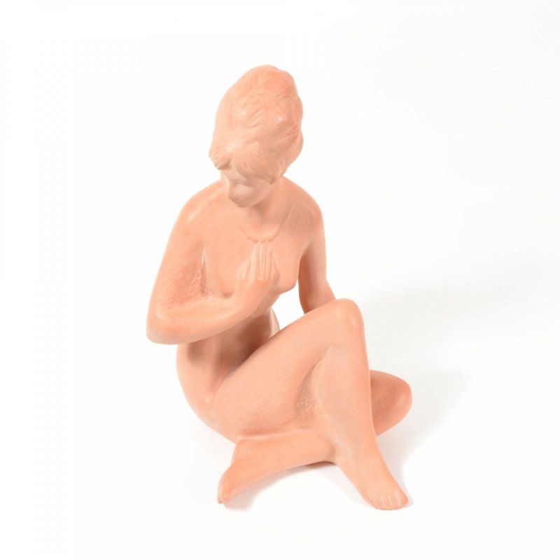 Vintage Pottery Sitting Women Statue