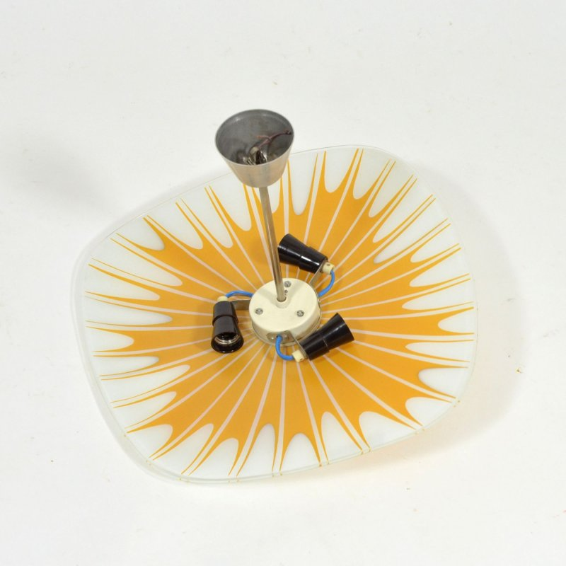 Napako glass plate ceiling light with prints