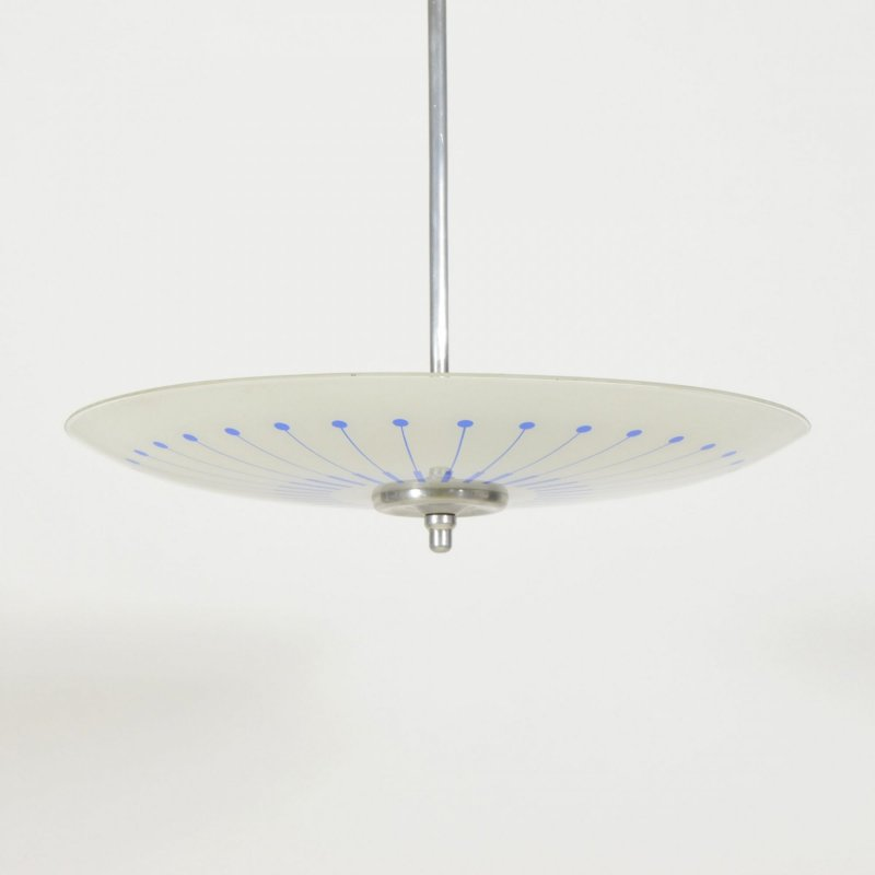 Glass plate light with blue decor