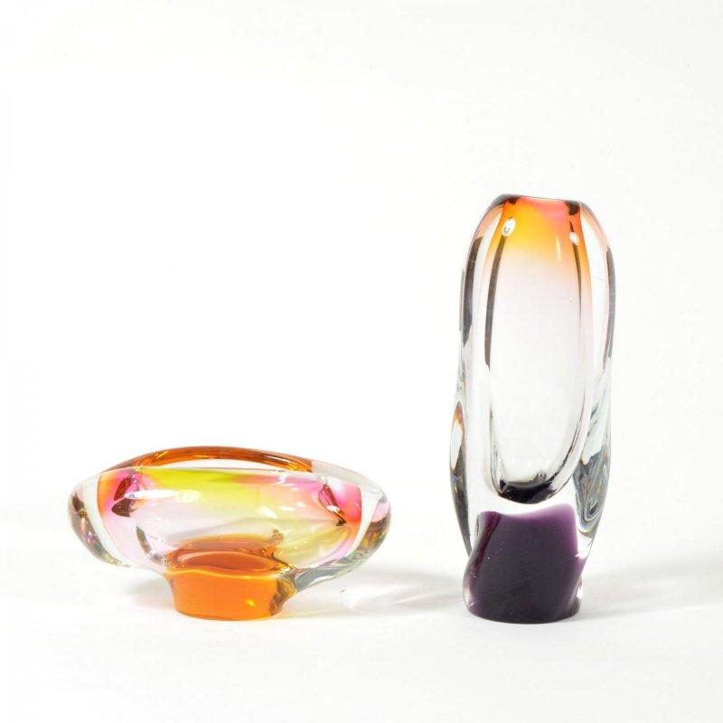 Set of free-blown glass