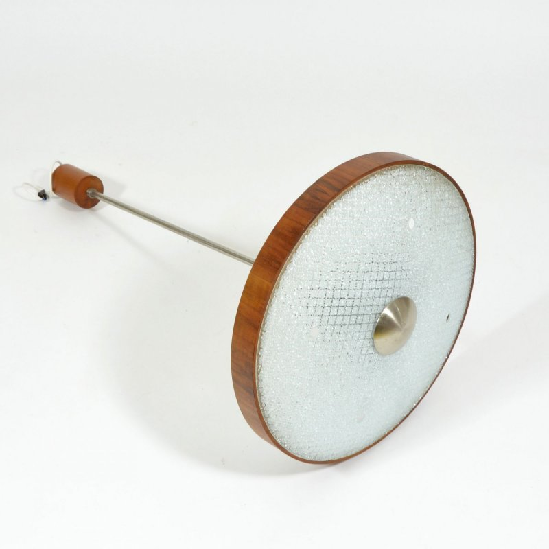 Midcentury ceiling light with wooden rim